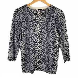 Talbots Pure Cashmere Snow Leopard Sweater